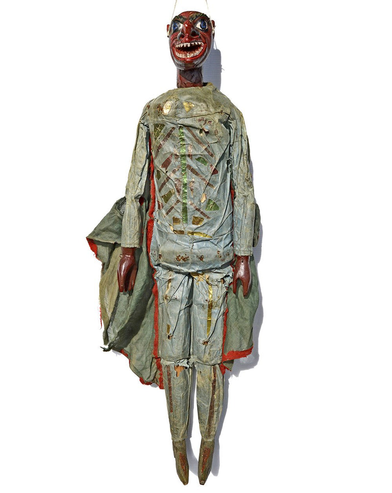 tiller clowes puppet troop, victorian marionettes, 19th century, english marionette, carved wood, antique puppet, for sale, devil puppet, devil marionettes