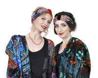 Printed headband - Boho style head piece in satin and silk velvet by Baba Studio