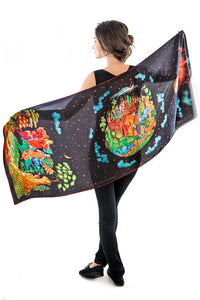 Printed scarves with The Firebird design. Viscose scarf / wrap by Baba Studio.