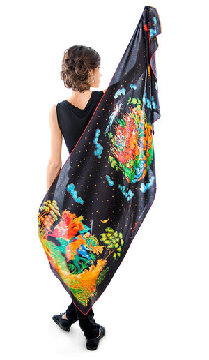 The Firebird, pure silk-satin scarf/wrap. - Baba Store - 4