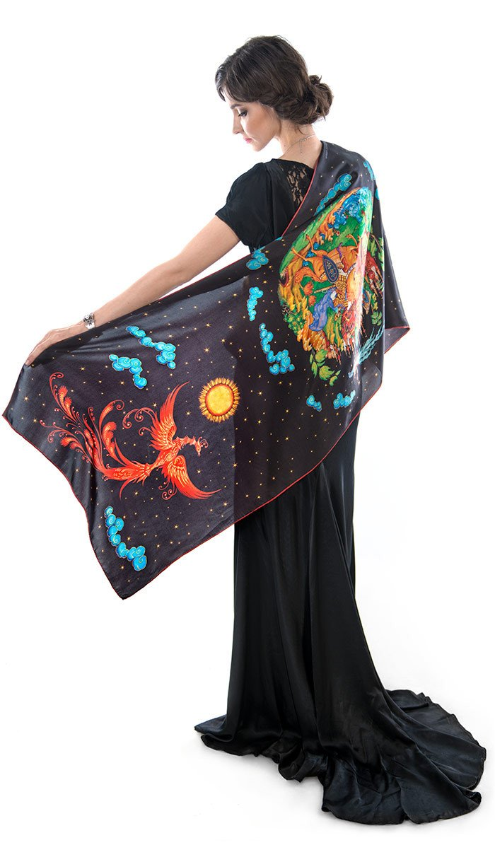 The Firebird, pure silk-satin scarf/wrap. - Baba Store - 1