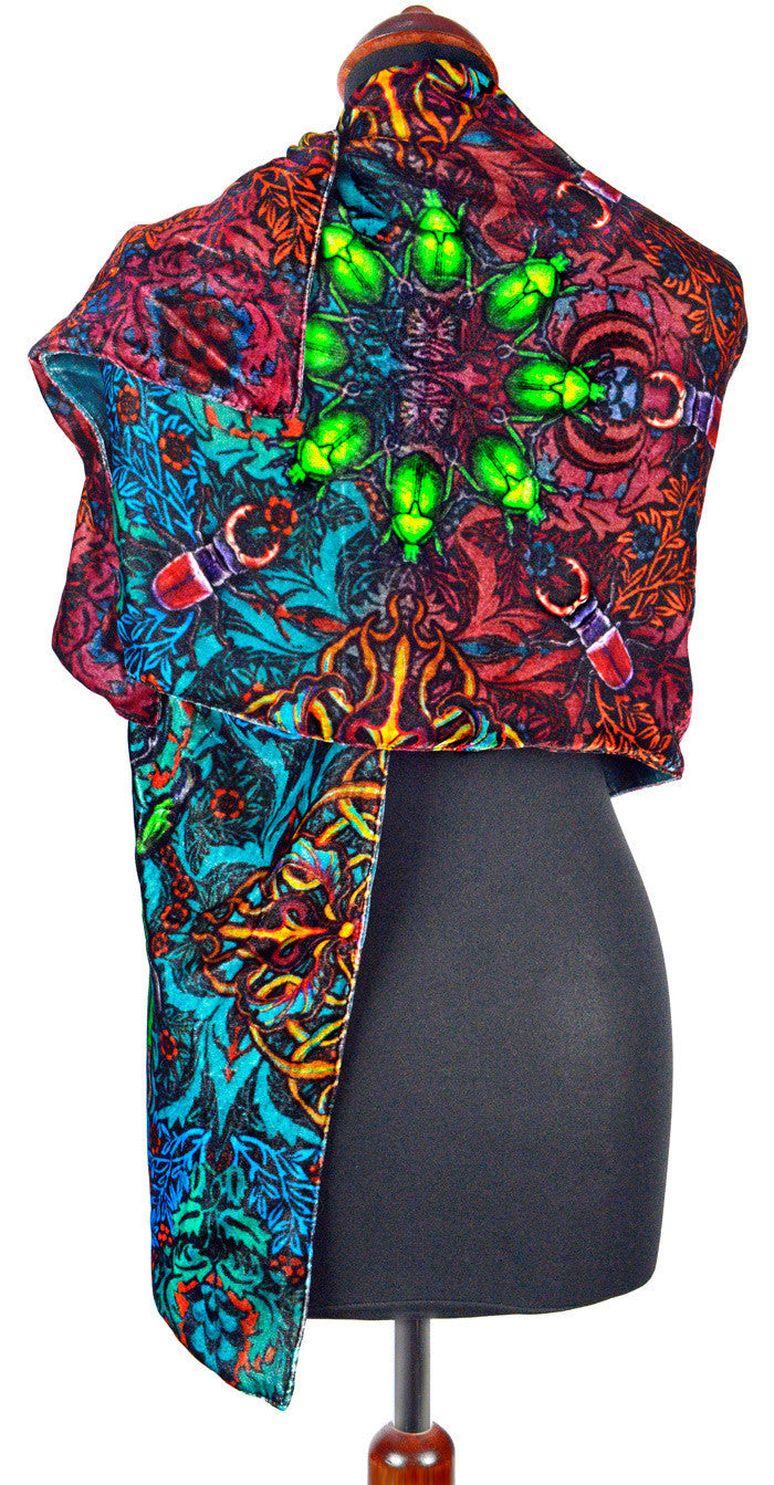 Beetle Belle, silk velvet scarf with red silk velvet. Printed scarab and stag beetles.