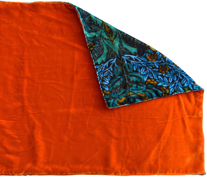 Butterfly Belle, silk velvet scarf. BURNT ORANGE back. - Baba Store EU - 2