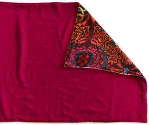 Beetle Belle, silk velvet scarf. BURGUNDY RED back. - Baba Store EU - 3