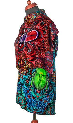 Beetle Belle, printed silk velvet scarf wrap with scarab beetle and scarf beetle print. Egypt, gothic, boho.