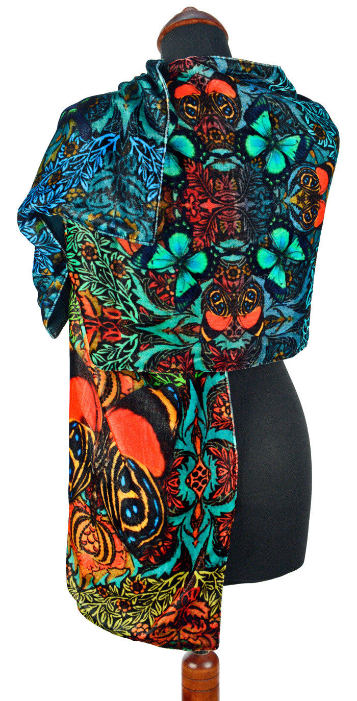 Butterfly Belle, silk velvet scarf. BURNT ORANGE back. - Baba Store EU - 3