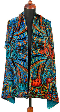 Dragons Dancing, silk velvet scarf.  PEACOCK TEAL back. - Baba Store EU - 3