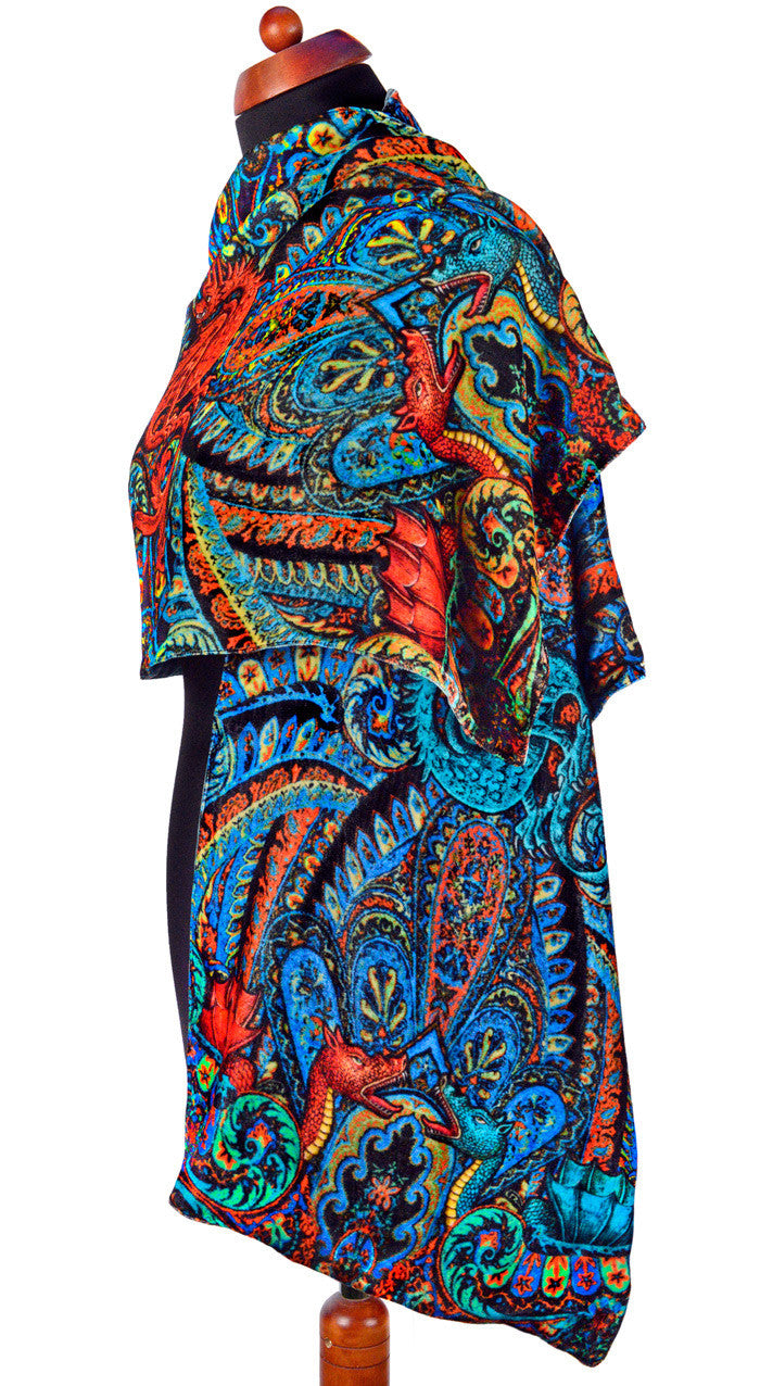 Dragons Dancing, silk velvet scarf.  PEACOCK TEAL back. - Baba Store EU - 1