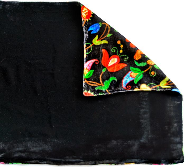 Black silk velvet back of Mythical Beasts scarf / wrap by Baba Studio.
