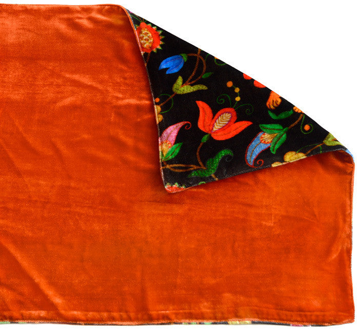 Rabbits Running in Paisley, silk velvet scarf.  BURNT ORANGE back. - Baba Store EU - 3