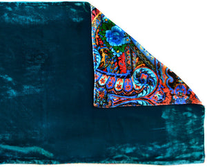Blue Roses at the Circus, silk velvet scarf. PEACOCK TEAL back. - Baba Store EU - 3