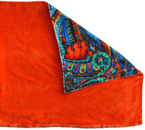 Dragons Dancing, silk velvet scarf. BURNT ORANGE back.