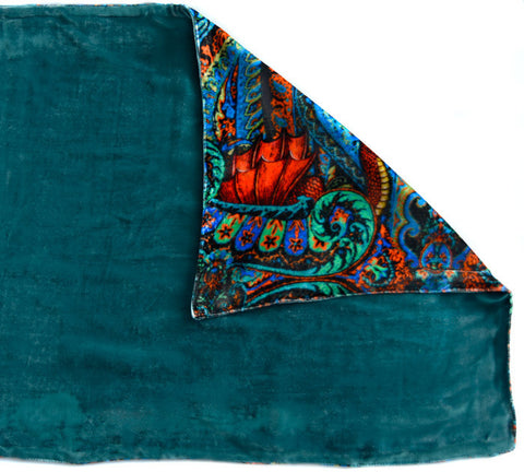 Butterfly Belle, silk velvet scarf. PEACOCK TEAL back.