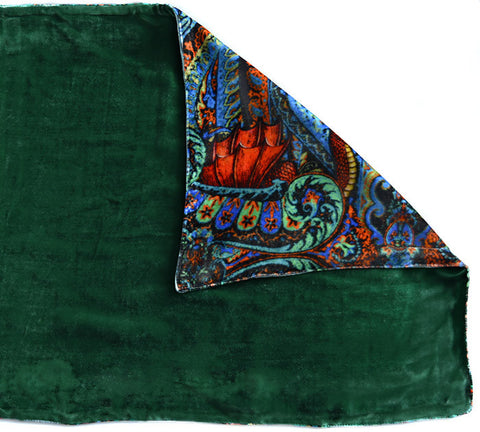 Dragons Dancing, silk velvet scarf. FOREST GREEN back.
