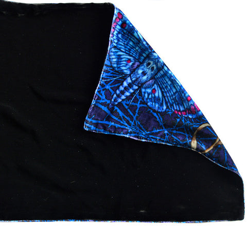 Hawkmoths at Dusk, silk velvet scarf. BLACK back.