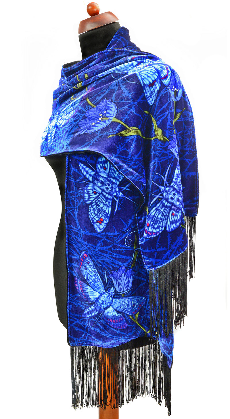 Velvet scarf, gothic silk scarf, hawkmoths wrap by Baba Studio