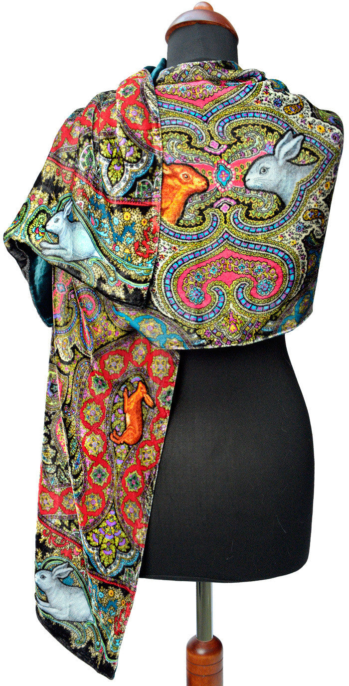 Rabbits Running in Paisley, silk velvet scarf.  BLACK back. - Baba Store EU - 3