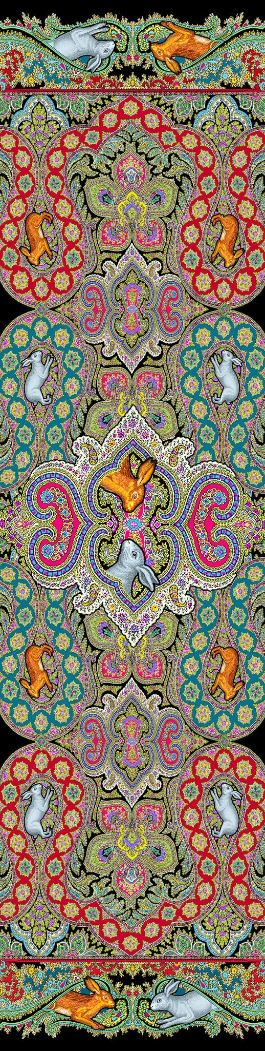 Rabbits Running in Paisley, silk velvet scarf.  BLACK back. - Baba Store EU - 4