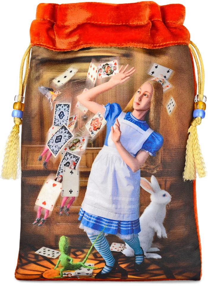 Alice Tarot bag, shower of cards print, Alice in Wonderland velvet tarot drawstring pouch, Baba Studio