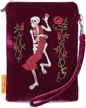 Gothic, dancing skeleton, embroidery, tarot bag, death card, tarot, Etteilla, wristlet, memento mori, embroidered, handmade