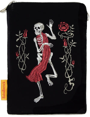 Gothic, skeleton, purse, tarot bag, wristlet, embroidery, death card, tarot, memento mori, embroidered, handmade