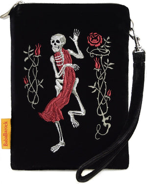 Gothic, dancing skeleton, tarot pouch, embroidery, death card, tarot, Etteilla, wristlet, memento mori, embroidered, handmade