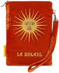 wristlet, silk velvet, embroidered, tarot bag, tarot pouch, le soleil, the sun