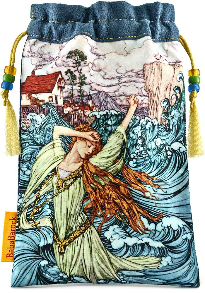 Undine tarot bag - limited edition printed tarot pouch in vintage kimono silk. By Baba Studio.