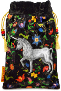 The Unicorn bag. Printed on silk velvet. Black velvet version. - Baba Store EU - 1