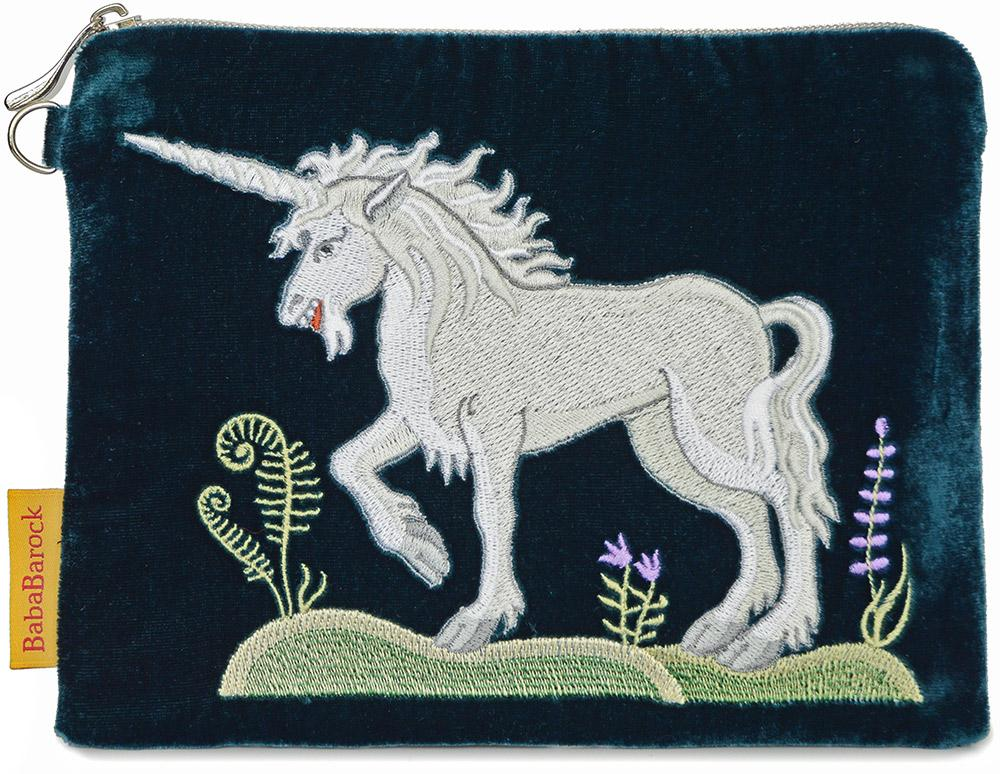 unicorn embroidery, embroidered unicorn, silk velvet bag, wristlet,  medieval unicorn, wristlet, medieval embroidery