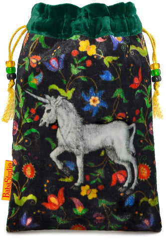 The Unicorn bag. Printed on silk velvet. Forest green velvet version.
