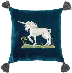unicorn, embroidered unicorn, silk velvet cushion, embroidered cushion, medieval unicorn, pillow