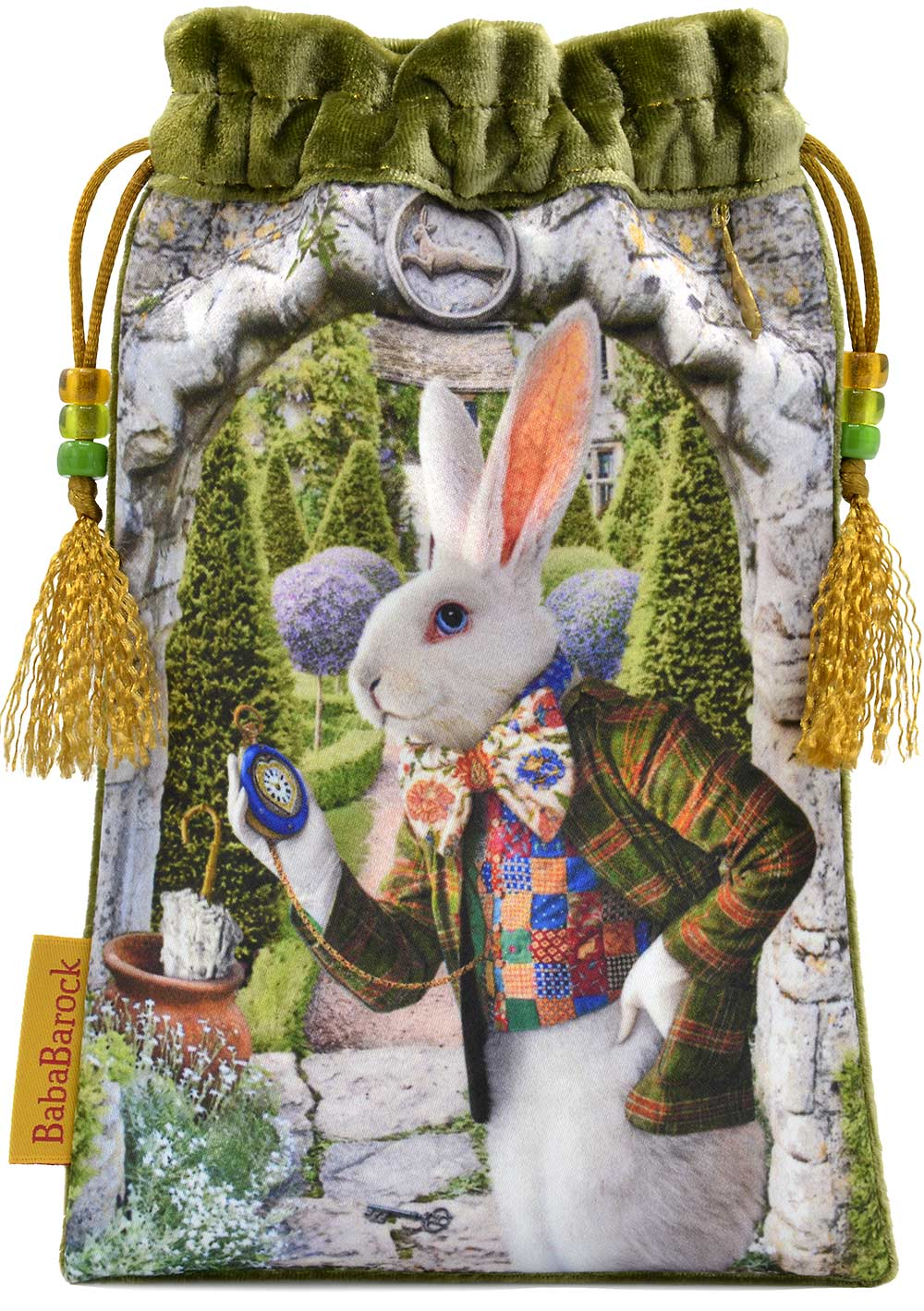 Tarotbeutel, Tarotkarten with The White Rabbit from The Alice Tarot. Silk velvet tarot bag with print of The White Rabbit