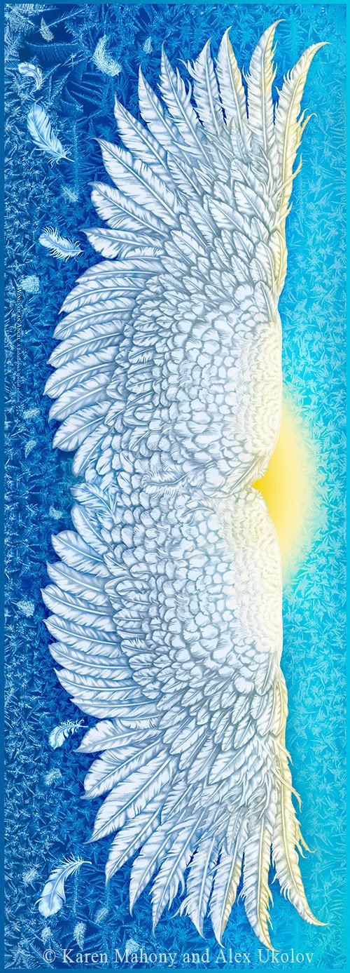 Wings of an Angel pure silk-satin scarf/wrap. Blue version. - Baba Store - 6