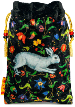 The White Rabbit bag. Printed on silk velvet. Black velvet version. - Baba Store EU - 1