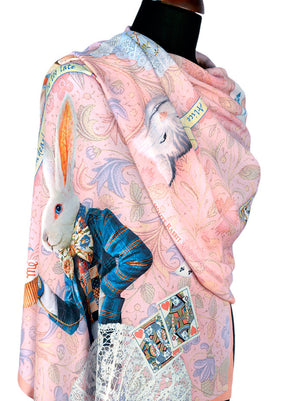 Printed scarf - The White Rabbit by Baba Studio. Alice in Wonderland scarves / wraps - pink viscose