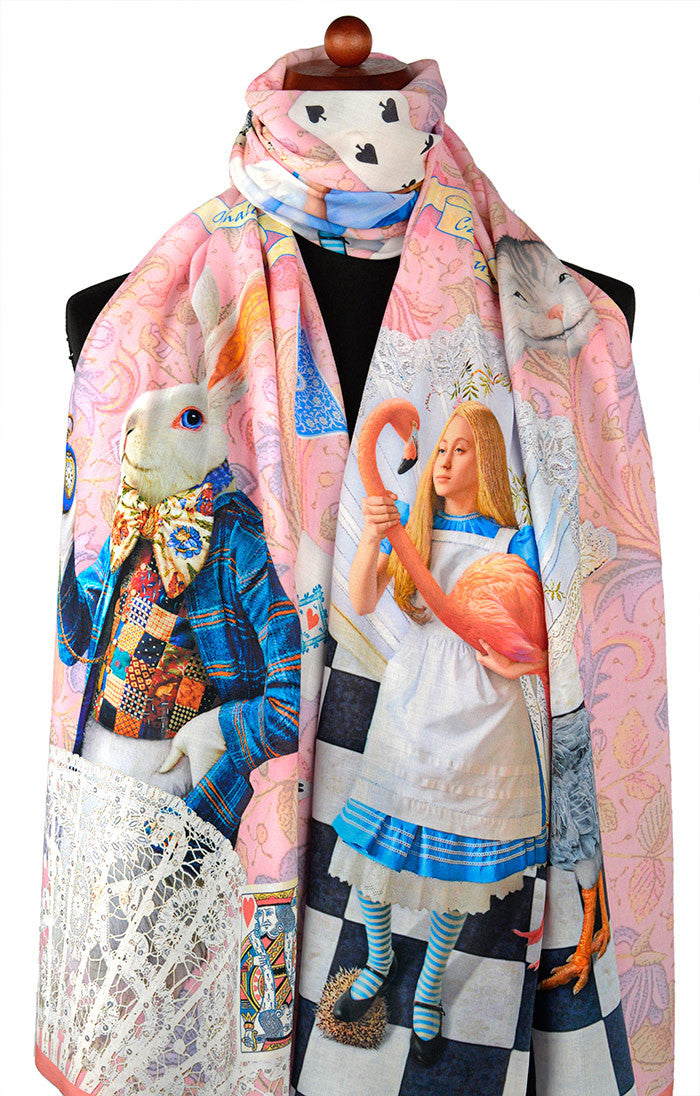 Alice in Wonderland printed scarves, The White Rabbit design by Baba Studio in pink viscose