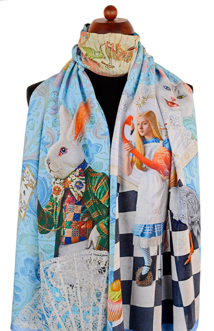 Alice in Wonderland scarves, printed viscose wraps, The White Rabbit design in sky blue