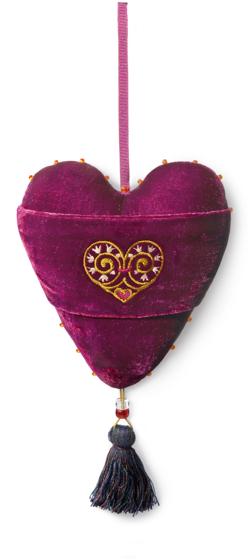 Love charm, baba studio, embroidered heart, embroidery, decoration, silk velvet, love is enough