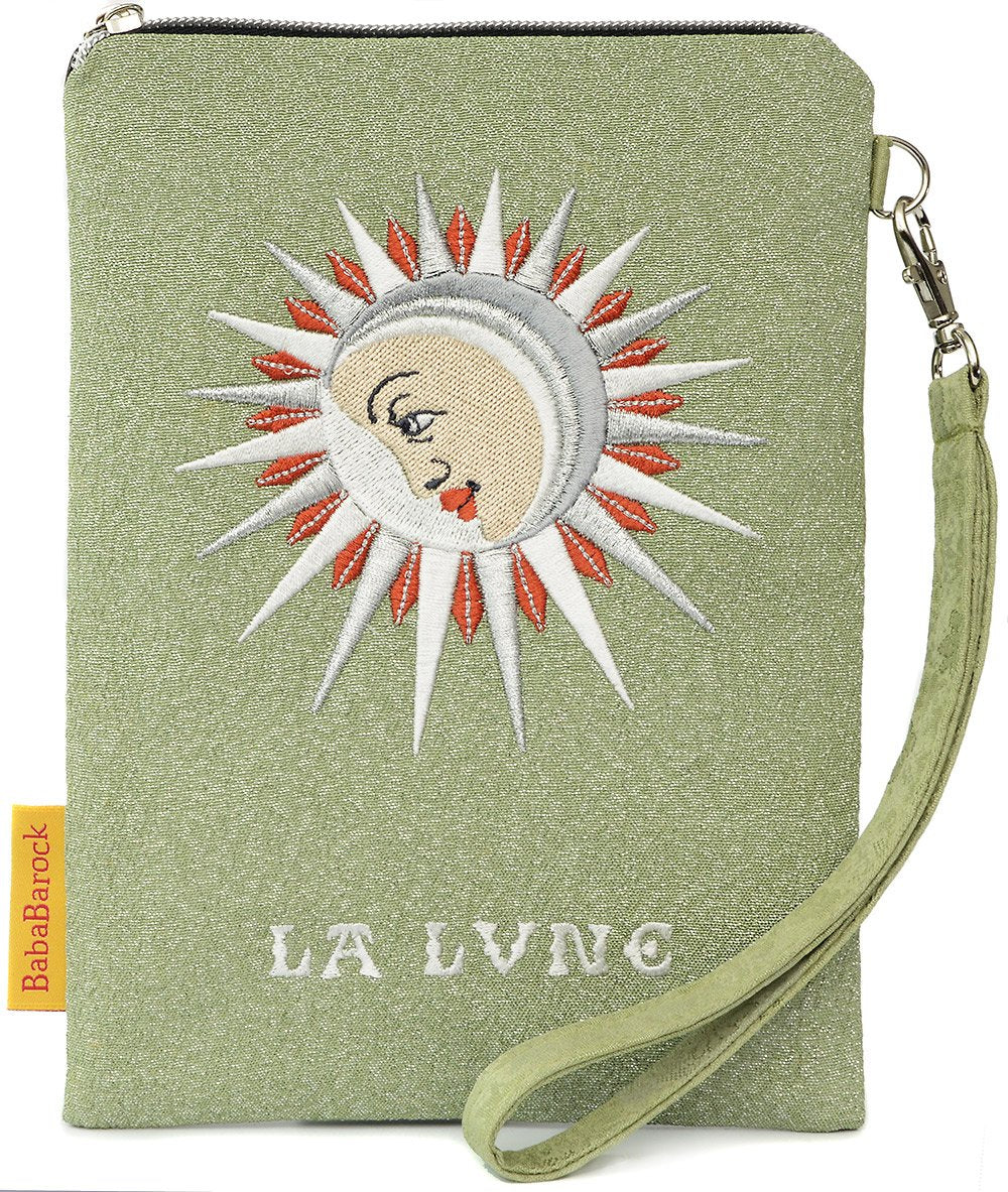 La Lune - embroidered wristlet in antique metallic kimono silk.
