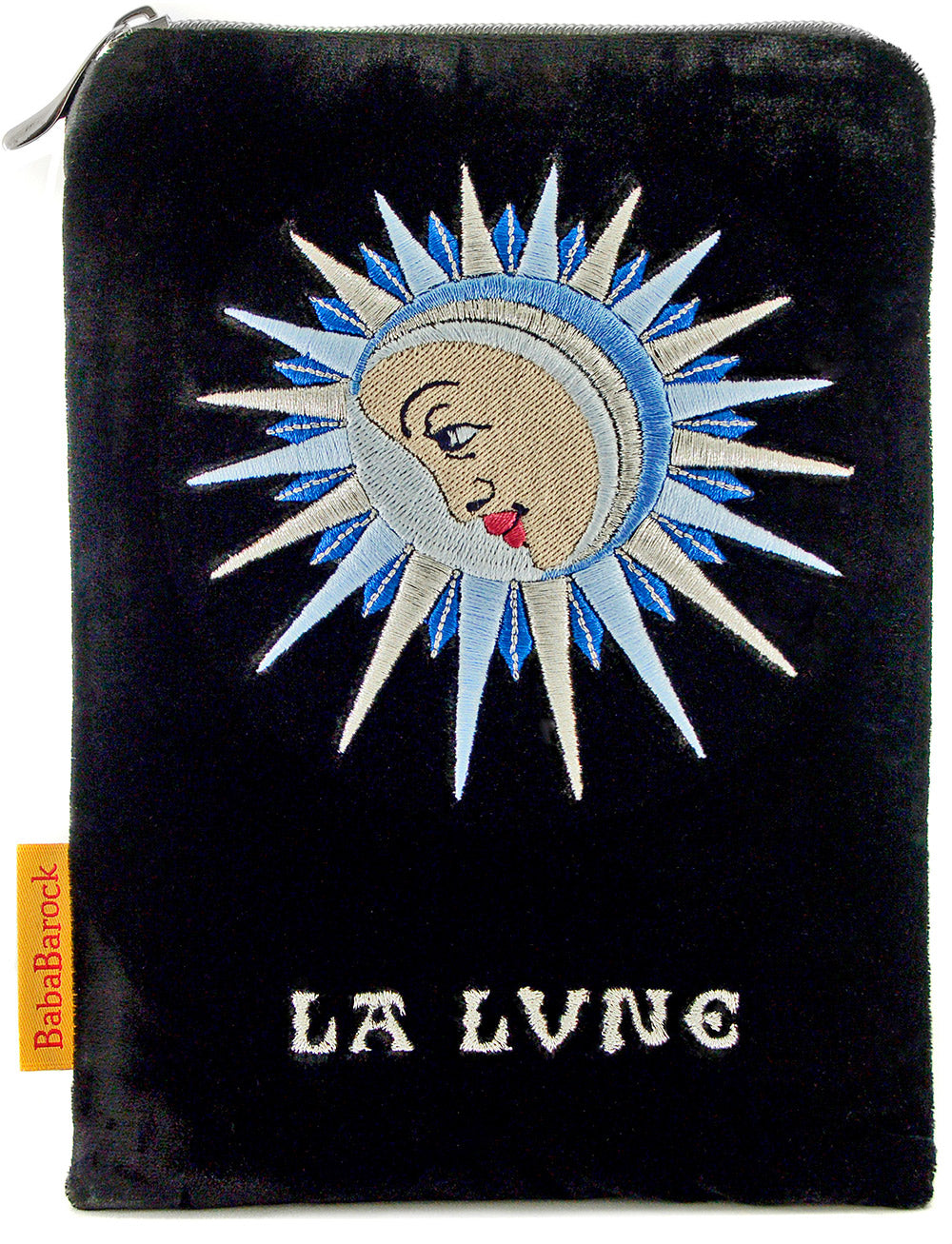 Embroidered pouch, La Lune, velvet tarot bag with embroidery, The Moon, Baba Studio limited edition
