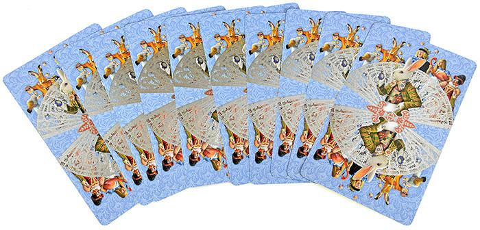 The Alice Tarot - illustrated cards, tea party, white rabbit, caterpillar