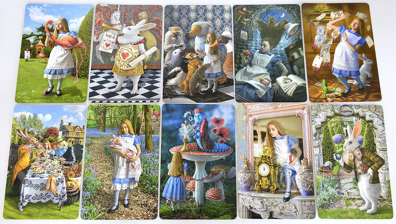 Alice Tarot cards, alice in wonderland, white rabbit, tea party