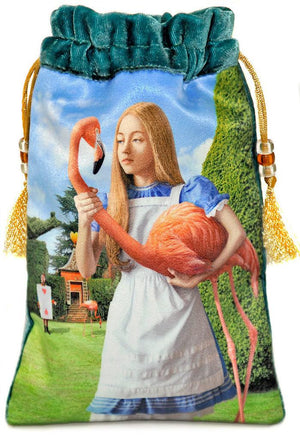 Alice and the Flamingo tarot bag, Alice in Wonderland tarot pouch, silk velvet drawstring by Baba Studio,Alice au pays des merveilles, Alice im wunderland