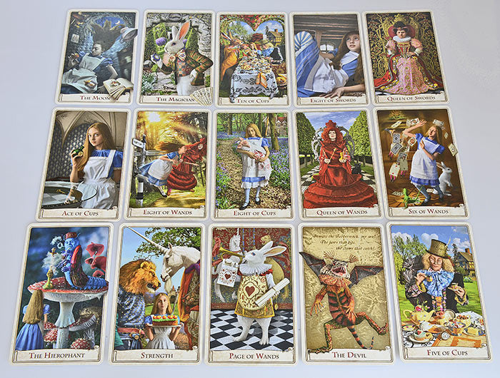 The Alice Tarot, Baba Studio, wonderland tarot, alice in wonderland, tarot cards, white rabbit, red queen, queen alice, mad hatter, cheshire cat