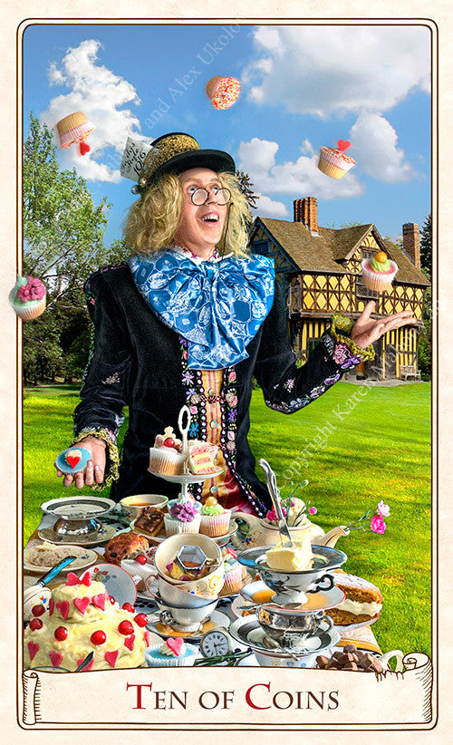 The Alice Tarot, Baba Studio, Alice in Wonderland tarot deck, mad hatter, tea party, Alice tarot cards