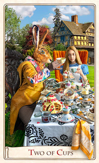 The Alice Tarot deck, Alice in Wonderland tarot cards, tea party, mad hatter