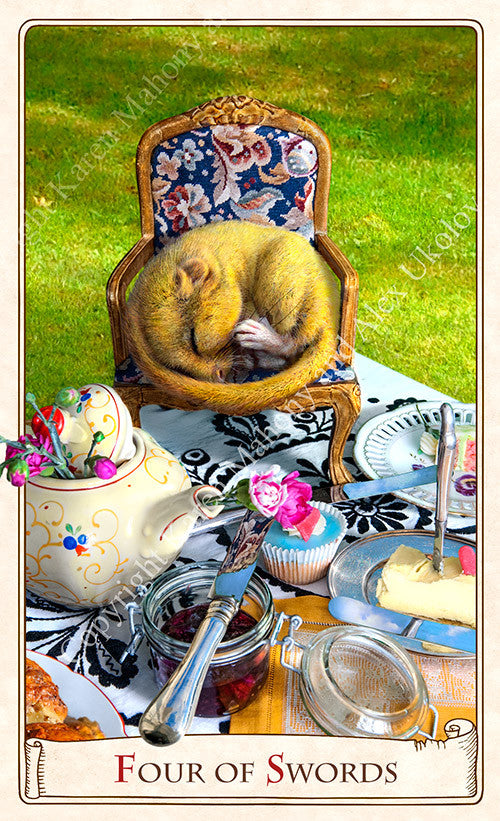 Alice tarot cards, baba studio, alice in wonderland tarot deck, dormouse, tea party