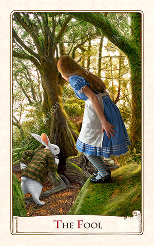 The Fool - Alice Tarot by Baba Studio, white rabbit, Alice in Wonderland tarot cards