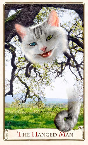 Hanged Man card, Alice Tarot by Baba Studio, Cheshire cat, Alice in Wonderland tarot deck